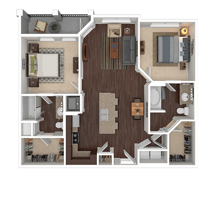 The Emerald floor plan at Boulders at Overland Park Apartments in Overland Park, Kansas