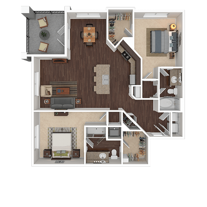 The Ruby floor plan at Boulders at Overland Park Apartments in Overland Park, Kansas