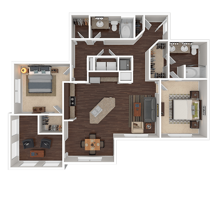 The Topaz floor plan at Boulders at Overland Park Apartments in Overland Park, Kansas