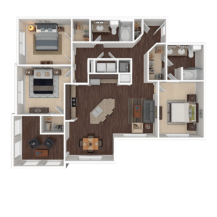 The Jade floor plan at Boulders at Overland Park Apartments in Overland Park, Kansas