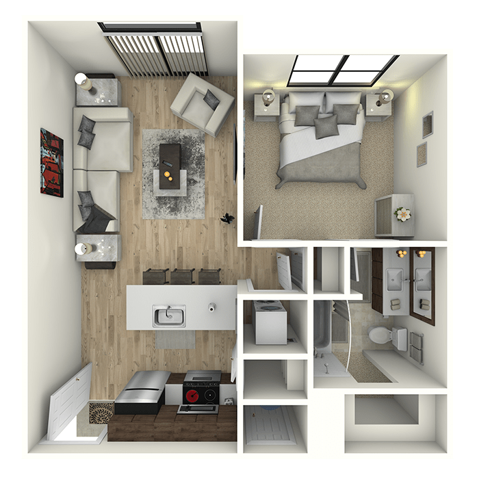 One bedroom layout at 6 West Apartments in Edwards, Colorado