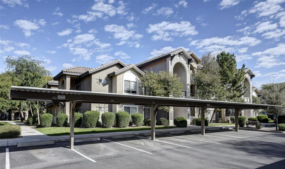 Exterior view of resident buildings at The Highlands at Spectrum in Gilbert, AZ