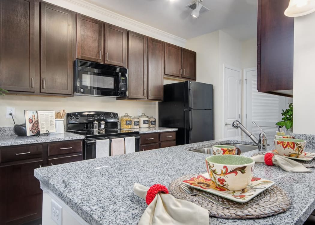 Beautiful well equipped kitchen at Oasis at Montclair Apartments in Dumfries, Virginia