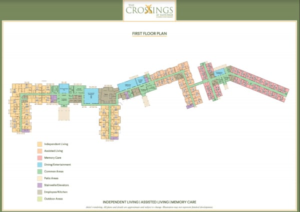 View the 1st floor plan at The Crossings at Eastchase in Montgomery, Alabama.