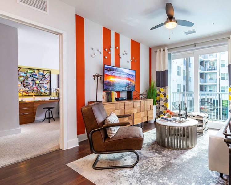 Spacious and bright living room area at Central Station on Orange in Orlando, Florida
