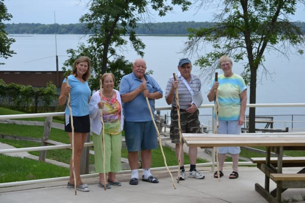 Residents on a walk near Ebenezer Ridges Campus in Burnsville, Minnesota.