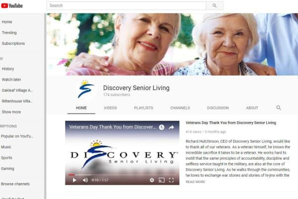 YouTube screenshot for Discovery Senior Living in Bonita Springs, Florida