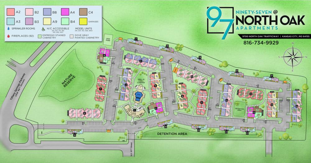 Site map for 97@ North Oak in Kansas City, Missouri