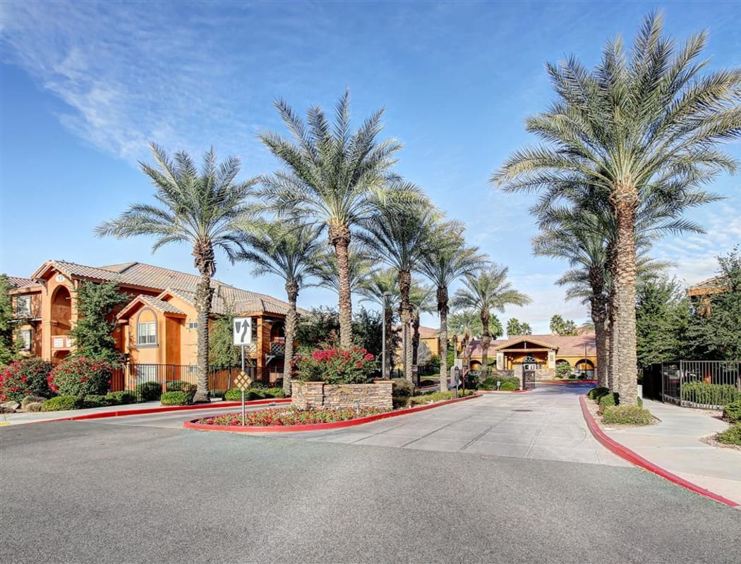 View of the entrance to The Highlands at Spectrum in Gilbert, AZ