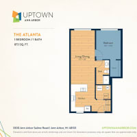 The Atlanta floor plan image at Uptown Ann Arbor in Ann Arbor, Michigan