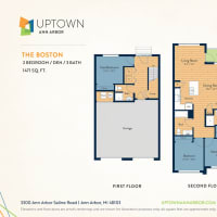 The Boston floor plan image at Uptown Ann Arbor in Ann Arbor, Michigan