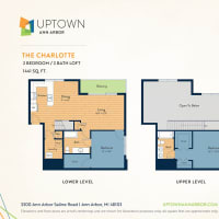 The Charlotte floor plan image at Uptown Ann Arbor in Ann Arbor, Michigan