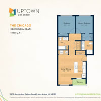 The Chicago floor plan image at Uptown Ann Arbor in Ann Arbor, Michigan