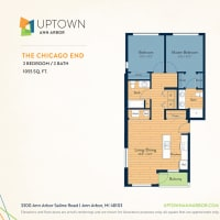 The Chicago End floor plan image at Uptown Ann Arbor in Ann Arbor, Michigan