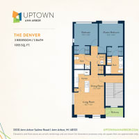 The Denver floor plan image at Uptown Ann Arbor in Ann Arbor, Michigan