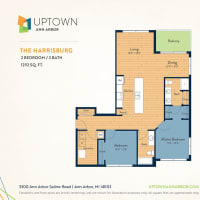 The Harrisburg floor plan image at Uptown Ann Arbor in Ann Arbor, Michigan