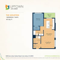 The Houston floor plan image at Uptown Ann Arbor in Ann Arbor, Michigan