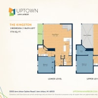 The Kingston floor plan image at Uptown Ann Arbor in Ann Arbor, Michigan