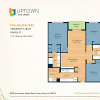 The Milwaukee floor plan image at Uptown Ann Arbor in Ann Arbor, Michigan