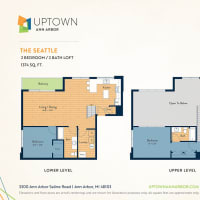 The Seattle floor plan image at Uptown Ann Arbor in Ann Arbor, Michigan