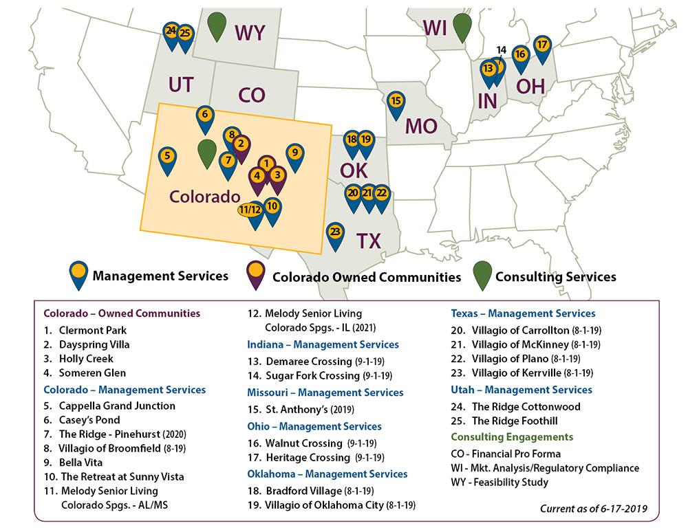 Map showing Cappella communities