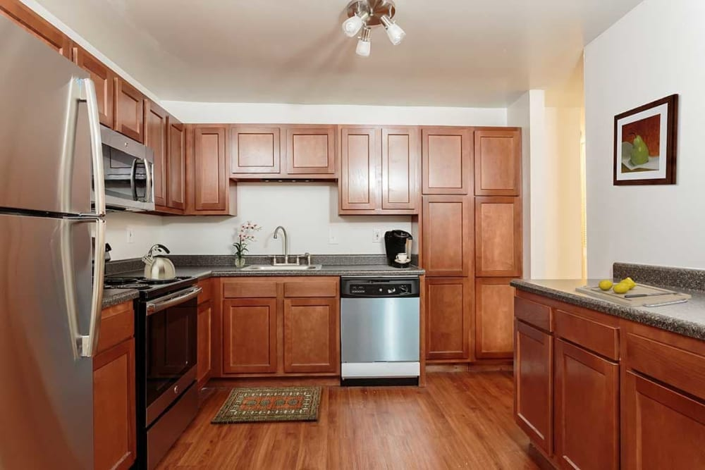 Kitchen with stainless-steal appliances at Meadowbrook Apartments in Slingerlands, New York