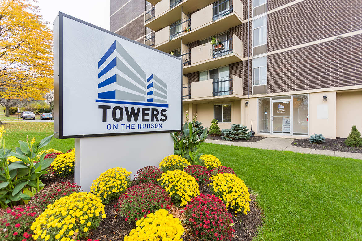 Front sign at Towers on the Hudson in Troy, New York