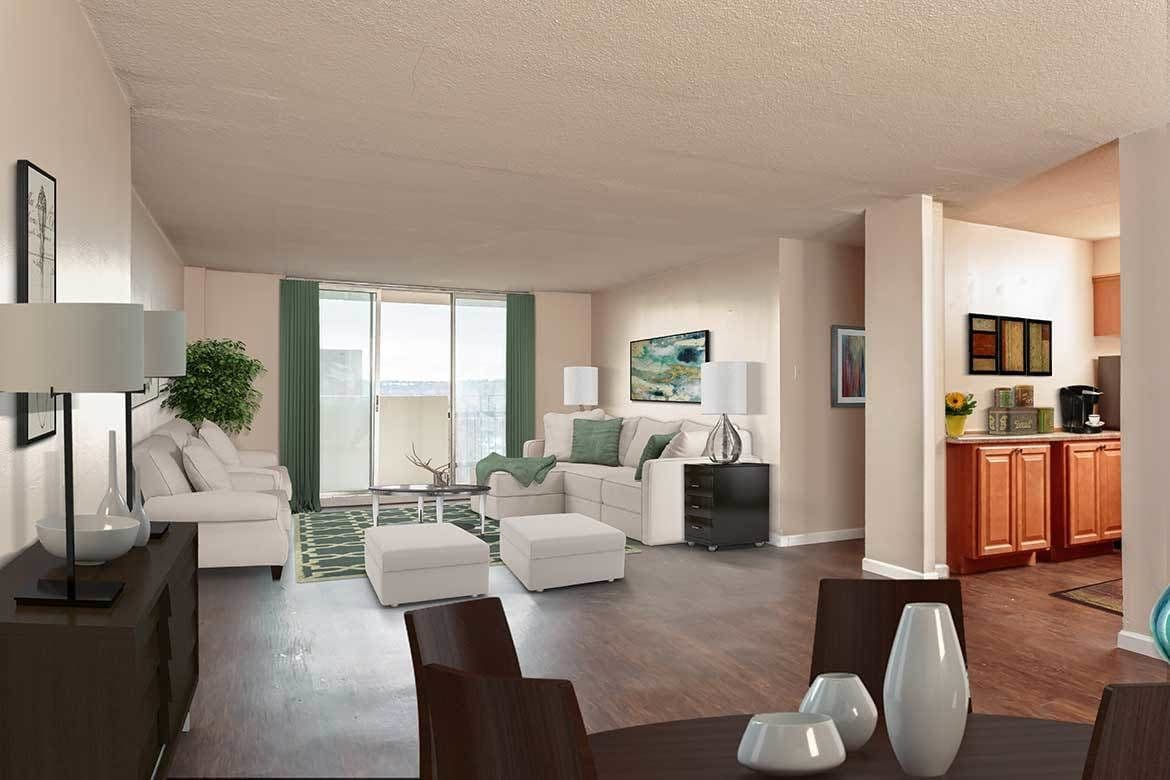 Living area at Towers on the Hudson in Troy, New York