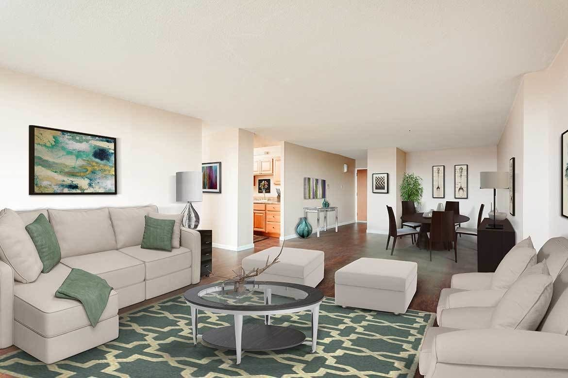 Cozy living room at Towers on the Hudson in Troy, New York