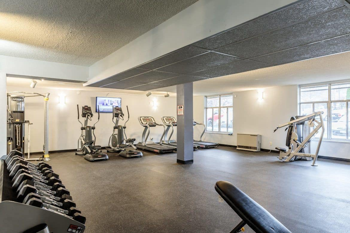 Spacious fitness center at Towers on the Hudson in Troy, New York