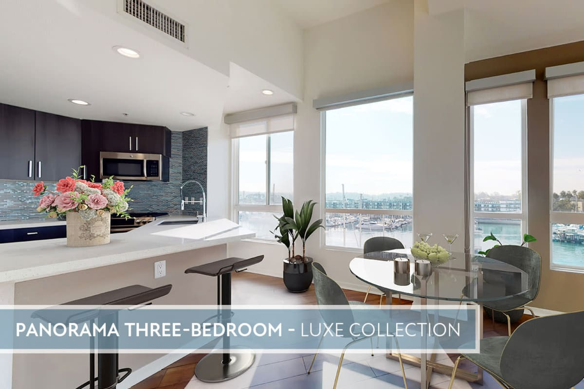 Spacious open-concept apartment with views of the marina and hardwood floors at Esprit Marina del Rey in Marina del Rey, California