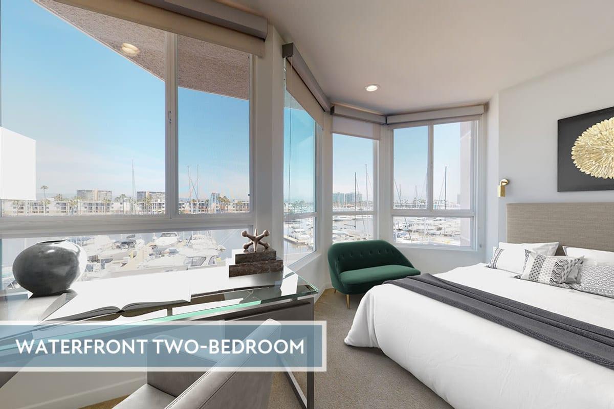 Studio apartment with views of the marina and hardwood floors at Esprit Marina del Rey in Marina del Rey, California