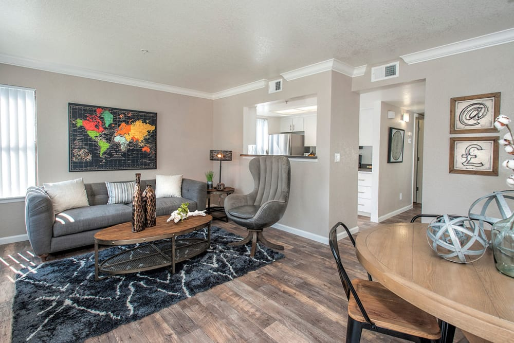 A beautiful living room in a model home at Sandpiper Village Apartment Homes in Vacaville, California