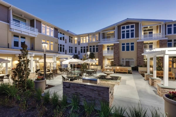 Beautiful exterior to senior living in Huntington Beach, California