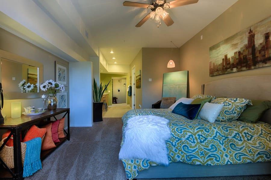 Luxury bedroom at Ten Wine Lofts in Scottsdale, Arizona