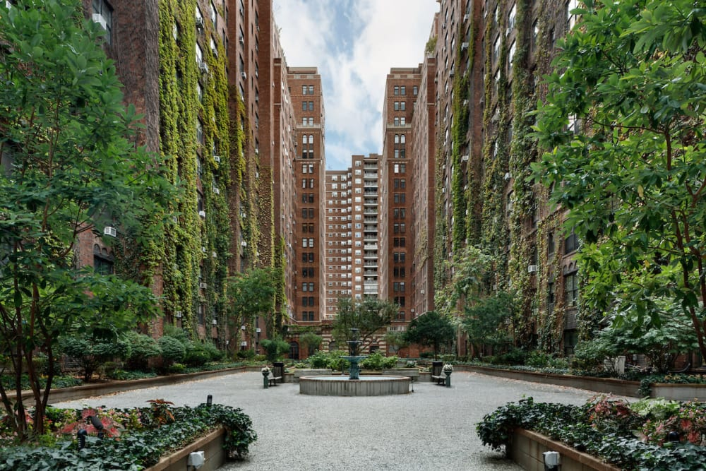 Beautifully manicured courtyard at London Terrace Gardens in New York, New York