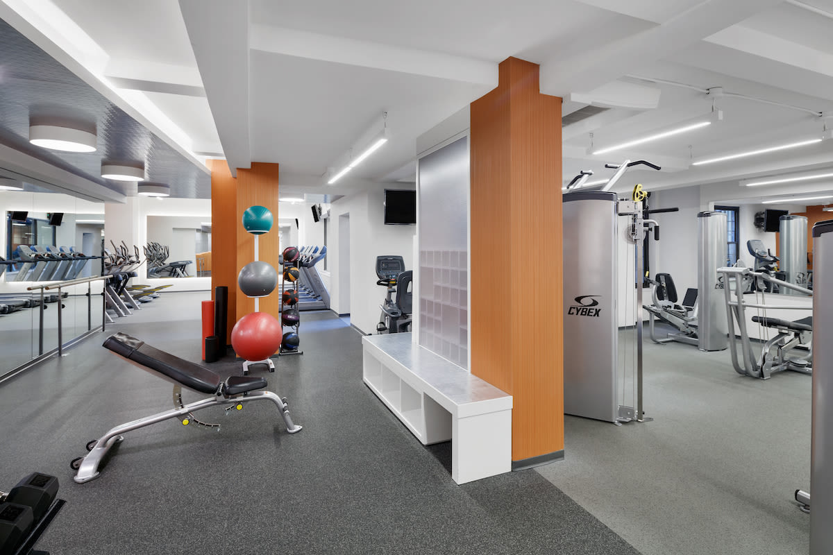 Fitness center with plenty of workout stations at London Terrace Gardens in New York, New York