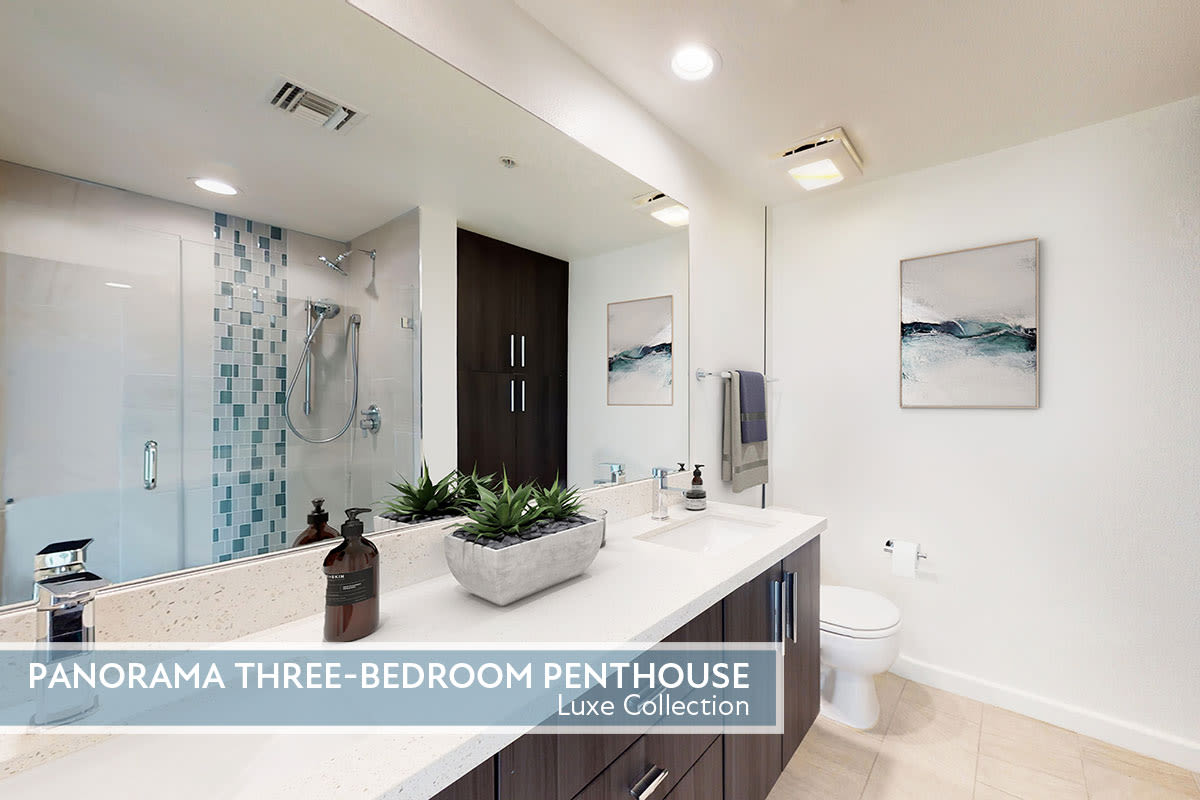Custom bathroom cabinetry and quartz countertops available with our Luxe Collection at Esprit Marina del Rey in Marina del Rey, California
