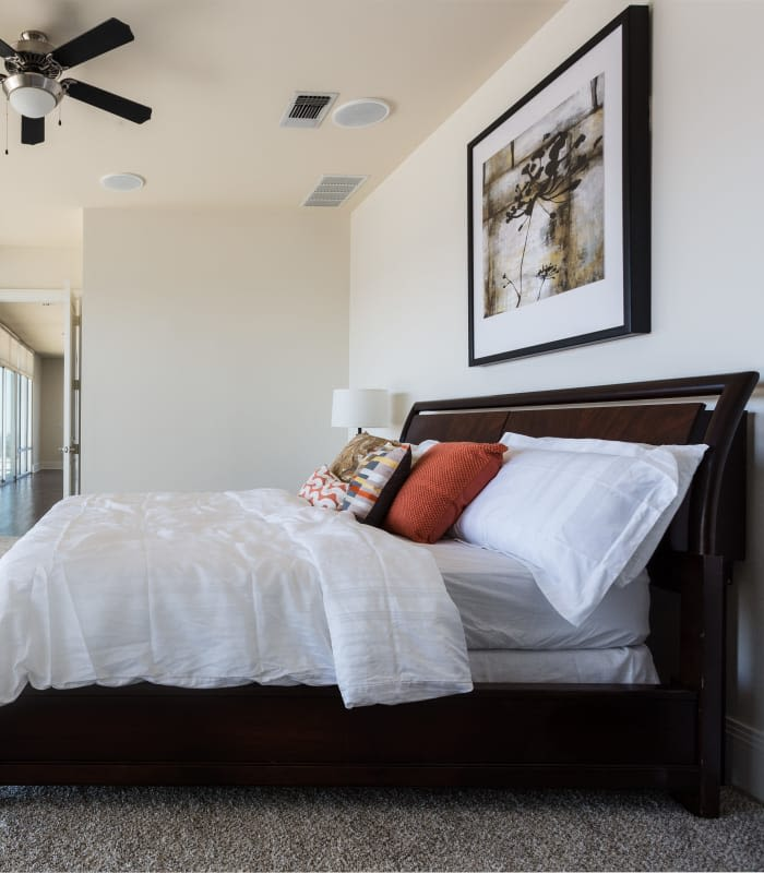 Master bedroom at The Heights at Park Lane in Dallas, Texas