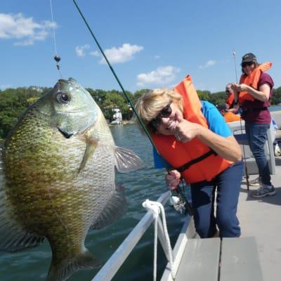 A resident fishing at Ebenezer Ridges Campus in Burnsville, Minnesota