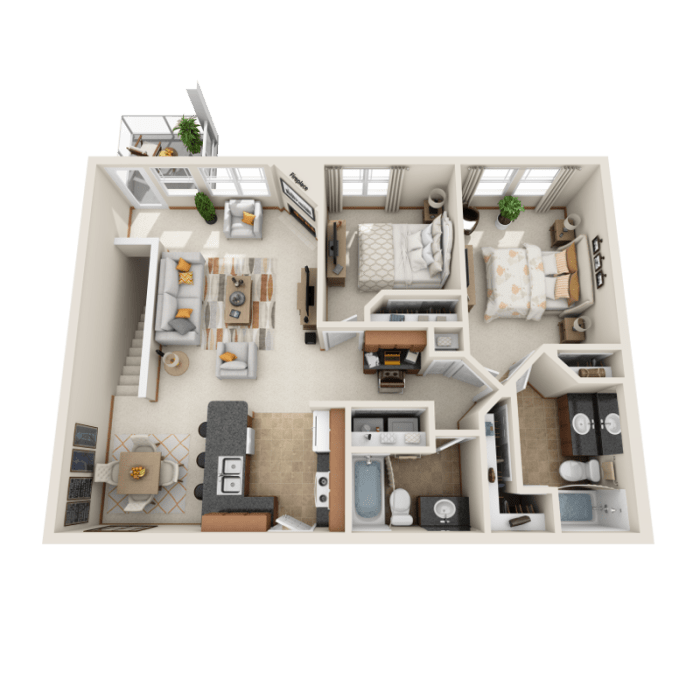 2 Bedroom Floor Plan - D