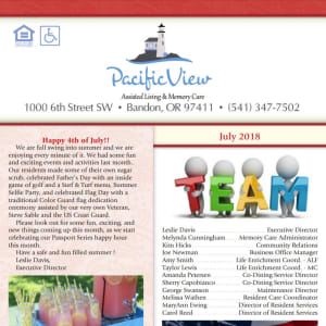 July Pacific View Senior Living Community Newsletter