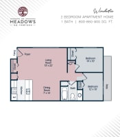 Winchester printable floor plan at The Meadows on Thirteen in Roseville, Michigan