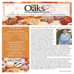 June newsletter at The Oaks Gracious Retirement Living in Georgetown, Texas