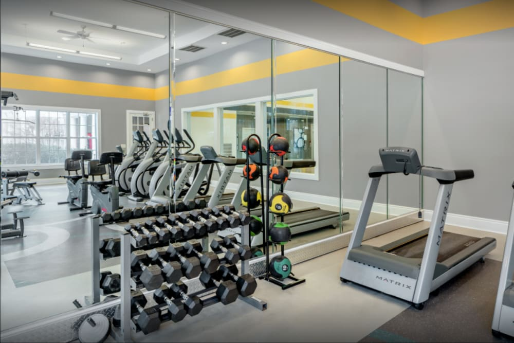 Fitness center at Ellington Metro West in Westborough, Massachusetts