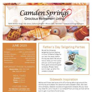 June newsletter at Camden Springs Gracious Retirement Living in Elk Grove, California