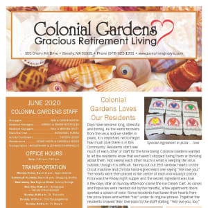 June newsletter at Colonial Gardens Gracious Retirement Living in Beverly, Massachusetts