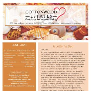 June newsletter at Cottonwood Estates Gracious Retirement Living in Alpharetta, Georgia