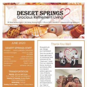June newsletter at Desert Springs Gracious Retirement Living in Oro Valley, Arizona