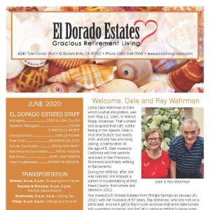 June newsletter at El Dorado Estates Gracious Retirement Living in El Dorado Hills, California